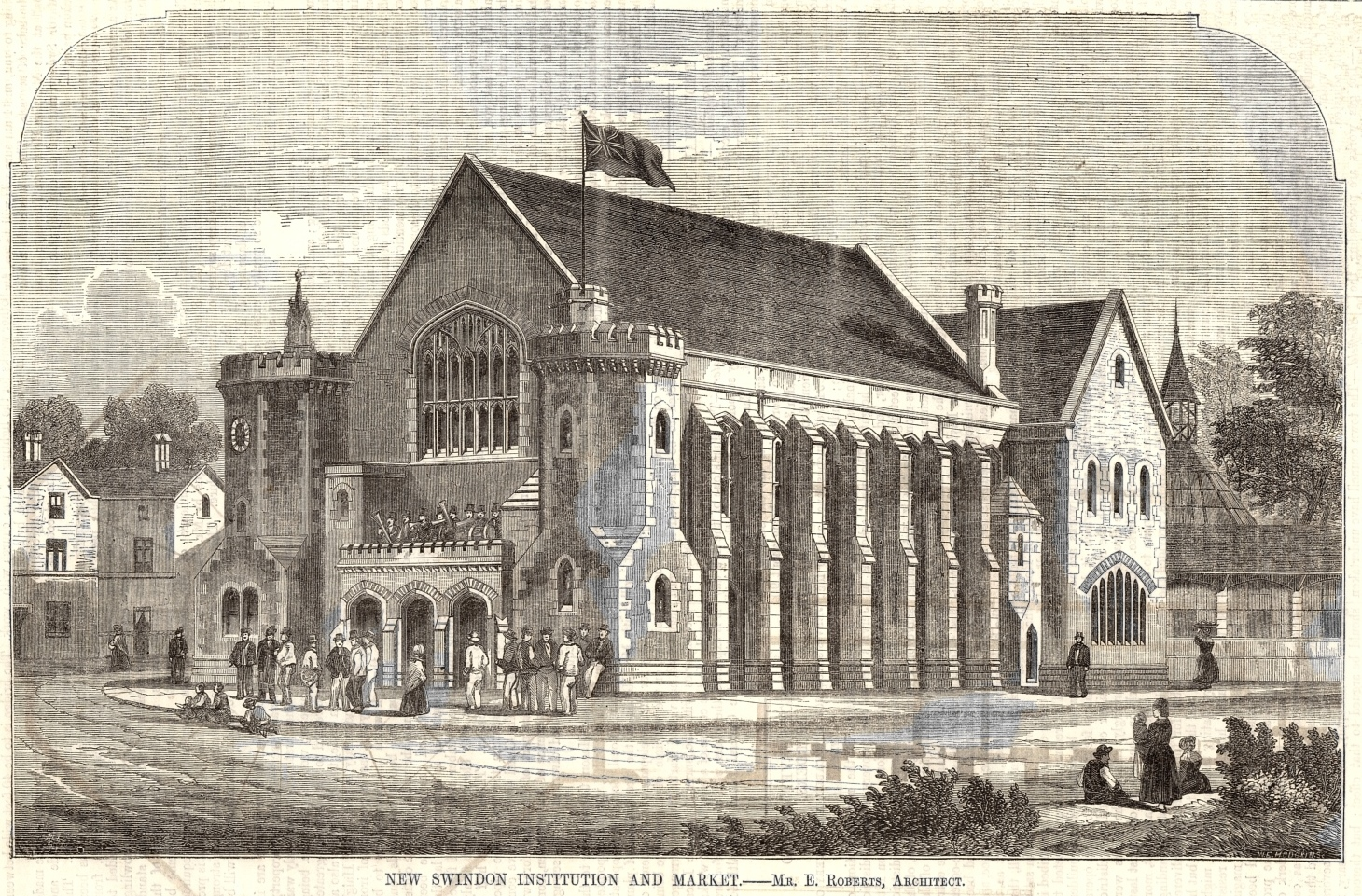 Mechanics' Institution and Market, architects' drawing, 1854 - Provided by Swindon Local Studies https://www.flickr.com/photos
